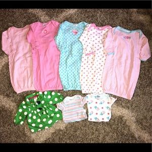 Gerber One Pieces - 0-6 Months Lot of Baby Girl sleeper Gowns & Jacket